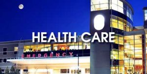 """An emergency room and the words """"Health Care"""""""