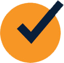 A yellow circle with a blue checkmark